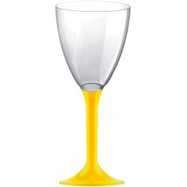 Copa de Plastico Vino con Pie Amarillo 180ml (200 Uds)