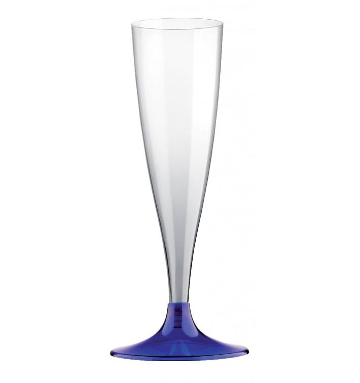 Copa de Plastico Cava con Pie Azul Transp. 140ml (20 Uds)
