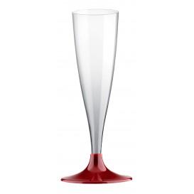 Copa de Plastico Cava con Pie Burdeos 140ml (200 Uds)
