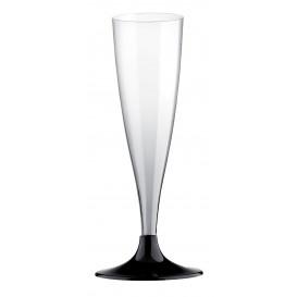 Copa de Plastico Cava con Pie Negro 140ml (20 Uds)