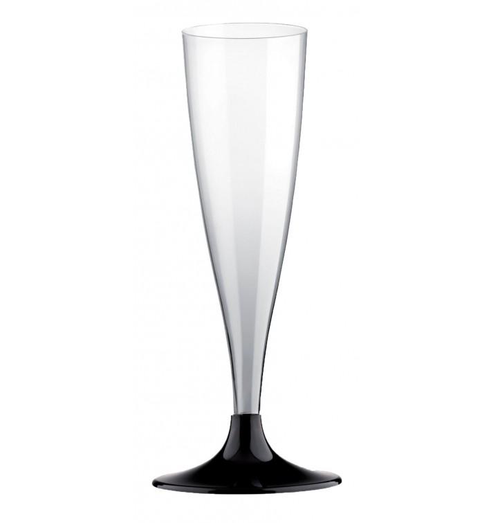 Copa de Plastico Cava con Pie Negro 140ml (200 Uds)