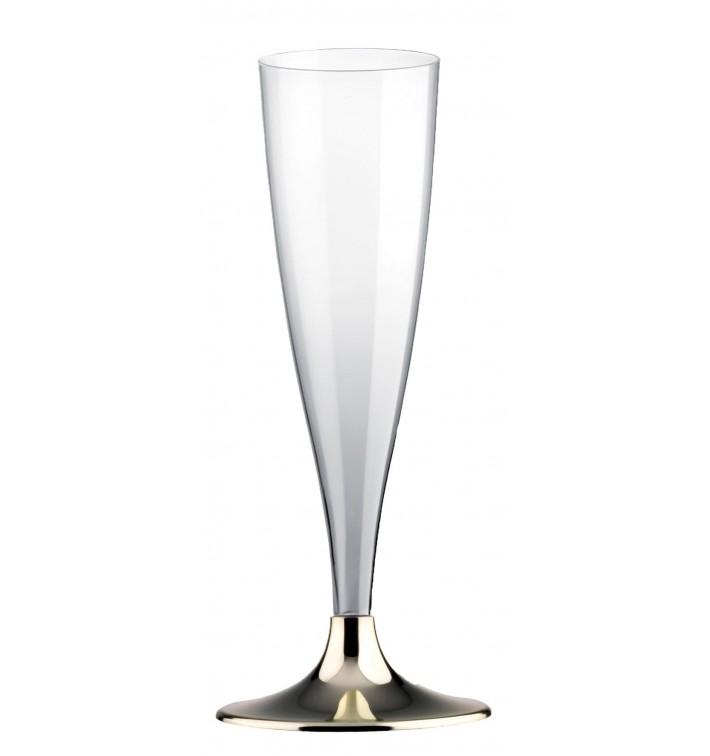 Copa de Plastico Cava con Pie Oro Cromado 140ml (200 Uds)