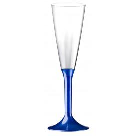 Copa de Plastico Cava con Pie Azul Perlado 160ml (200 Uds)