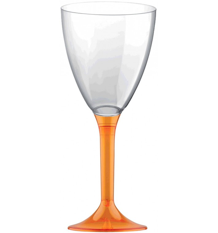 Copa de Plastico Vino con Pie Naranja Transp. 180ml (200 Uds)