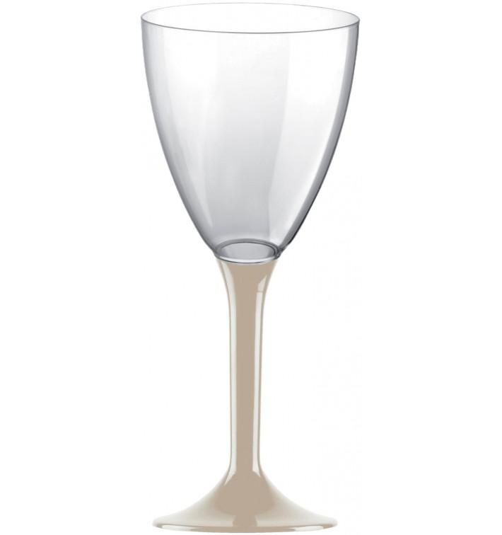 Copa de Plastico Vino con Pie Beige 180ml (20 Uds)
