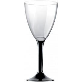 Copa Plastico Vino Pie Negro 180ml 2P (20 Uds)
