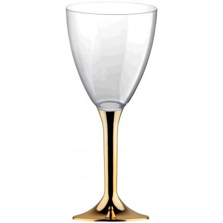 Copa de Plastico Vino con Pie Oro Cromado 180ml (20 Uds)