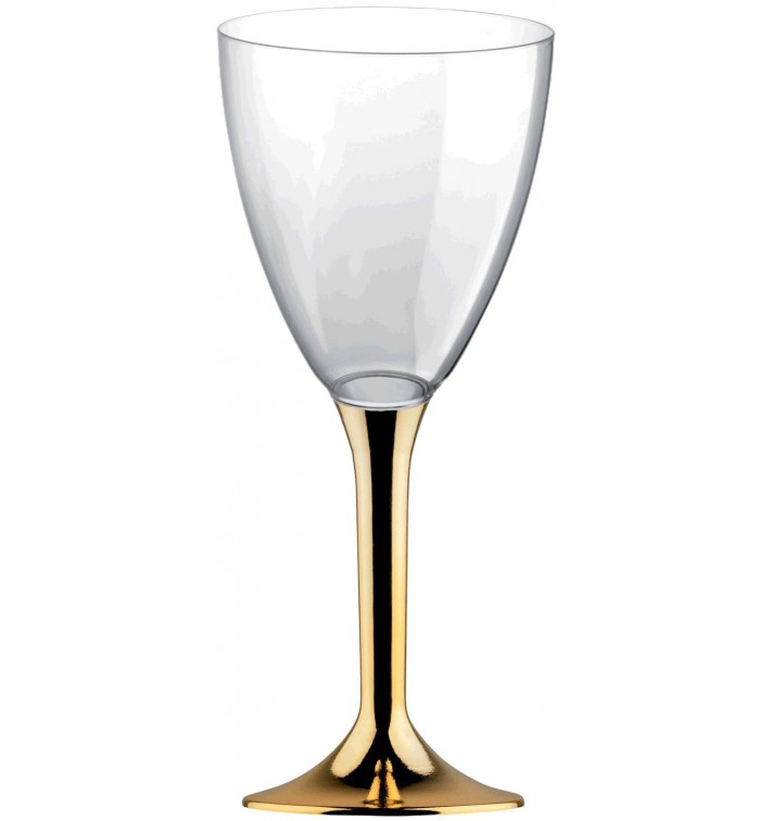 Copa de Plastico Vino con Pie Oro Cromado 180ml (200 Uds)