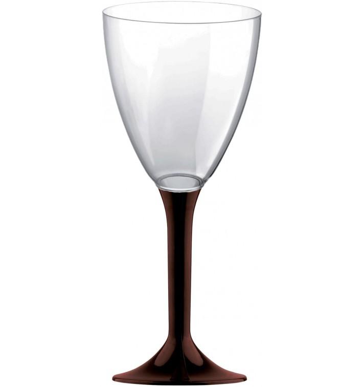 Copa Plastico Vino Pie Marron 180ml 2P (20 Uds)
