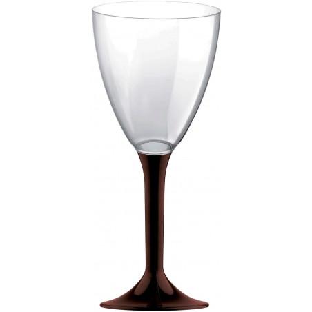 Copa de Plastico Vino con Pie Marron 180ml (20 Uds)