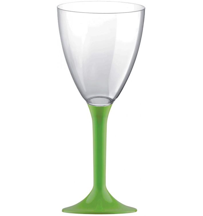 Copa de Plastico Vino con Pie Verde Lima 180ml (20 Uds)
