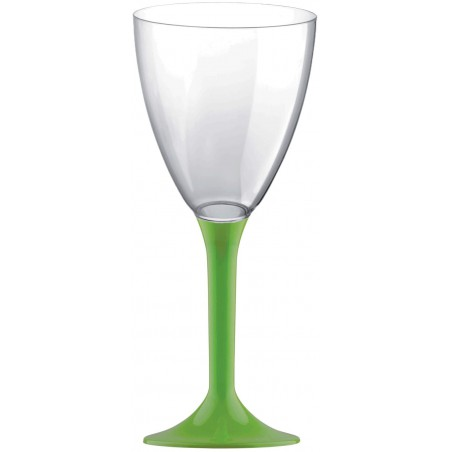 Copa Plastico Vino Pie Verde Lima 180ml 2P (20 Uds)