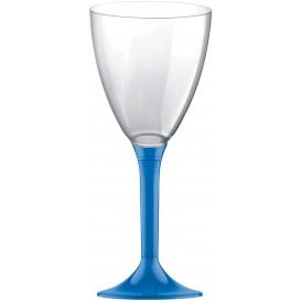 Copa de Plastico Vino con Pie Azul Transp. 180ml (200 Uds)