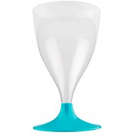 Copa Plastico Vino Pie Turquesa 200ml 2P (400 Uds)
