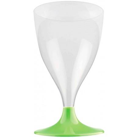 Copa de Plastico Vino con Pie Verde Lima 200ml (200 Uds)