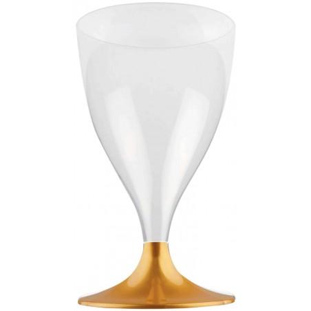 Copa de Plastico Vino con Pie Oro 200ml (20 Uds)