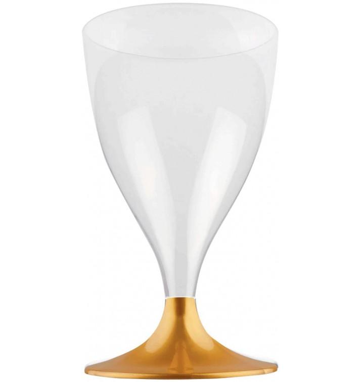 Copa Plastico Vino Pie Oro 200ml 2P (400 Uds)