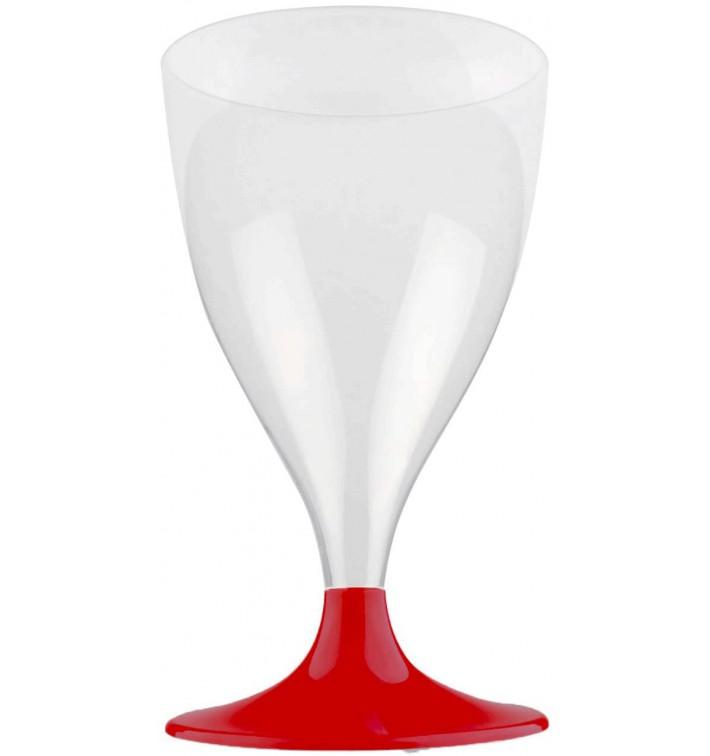 Copa Plastico Vino Pie Burdeos 200ml 2P (20 Uds)