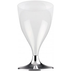 Copa de Plastico Vino con Pie Gris Cromado 200ml (200 Uds)