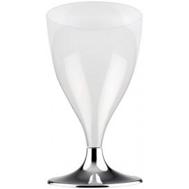 Copa de Plastico Vino con Pie Gris Cromado 200ml (20 Uds)
