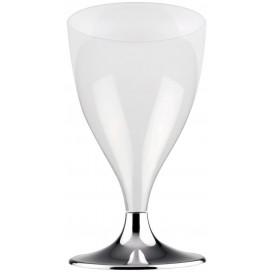 Copa de Plastico Vino con Pie Plata Cromado 200ml (200 Uds)