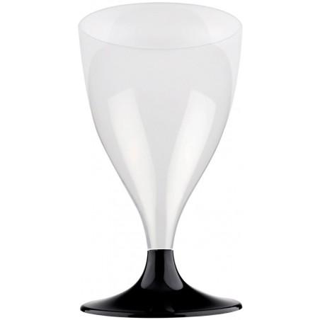 Copa de Plastico Vino con Pie Negro 200ml (200 Uds)