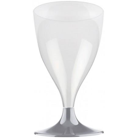 Copa Plastico Vino Pie Gris 200ml 2P (20 Uds)