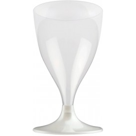Copa de Plastico Vino con Pie Blanco Perlado 200ml (20 Uds)