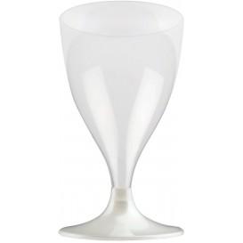 Copa de Plastico Vino con Pie Blanco Perlado 200ml (200 Uds)