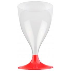 Copa de Plastico Vino con Pie Rojo Transp. 200ml (20 Uds)