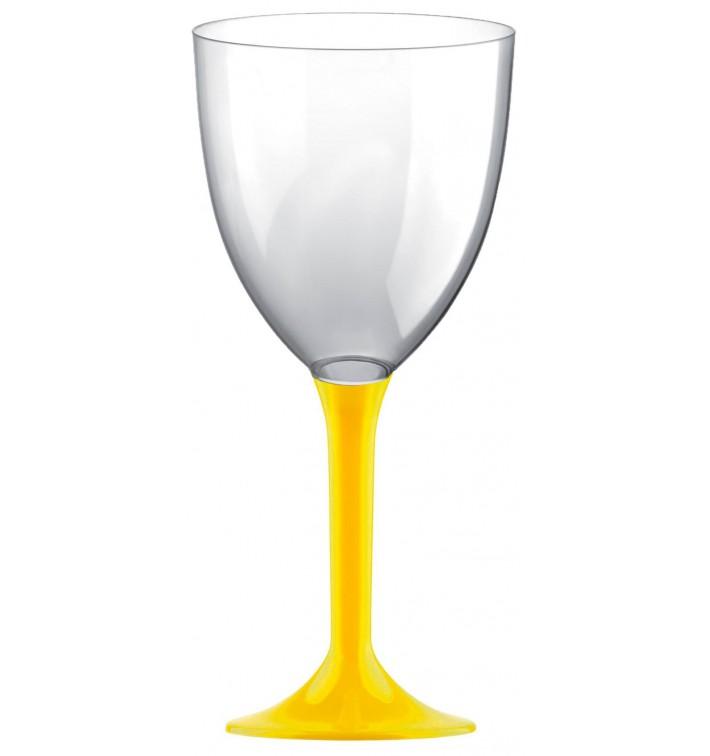 Copa de Plastico Vino con Pie Amarillo 300ml (200 Uds)