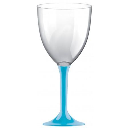 Copa Plastico Vino Pie Turquesa 300ml 2P (200 Uds)