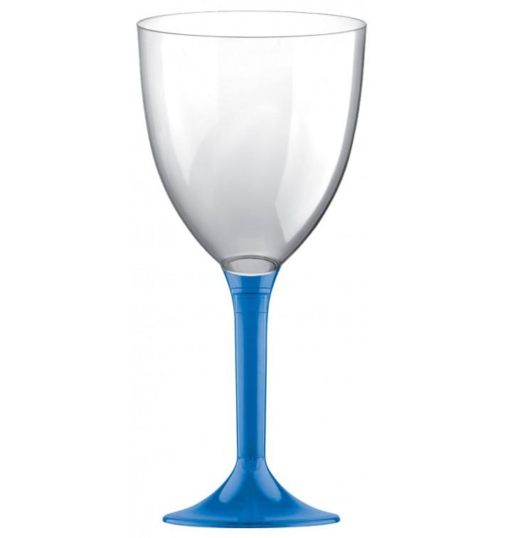 Copa de Plastico Vino con Pie Azul Transp. 300ml (20 Uds)