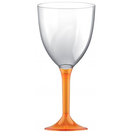Copa de Plastico Vino con Pie Naranja Transp. 300ml (20 Uds)