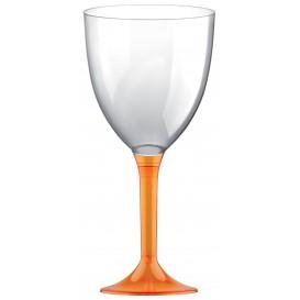 Copa de Plastico Vino con Pie Naranja Transp. 300ml (200 Uds)