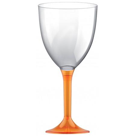 Copa Plastico Vino Pie Naranja Transp. 300ml 2P (200 Uds)