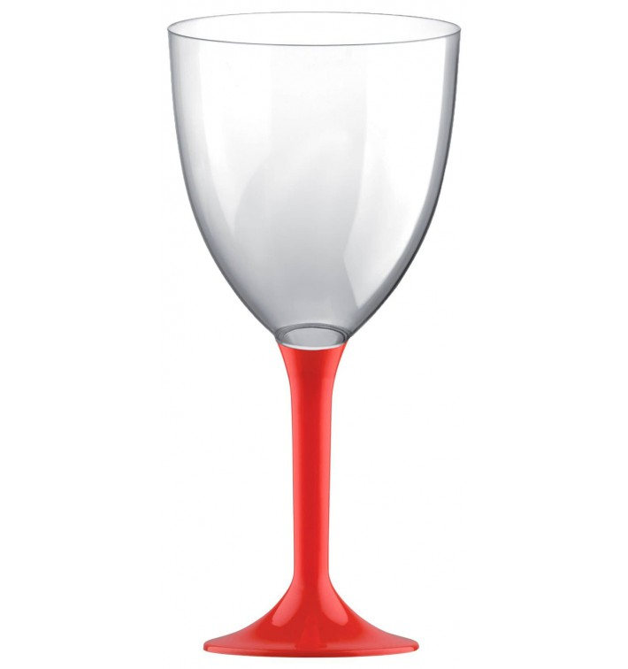 Copa de Plastico Vino con Pie Rojo 300ml (20 Uds)