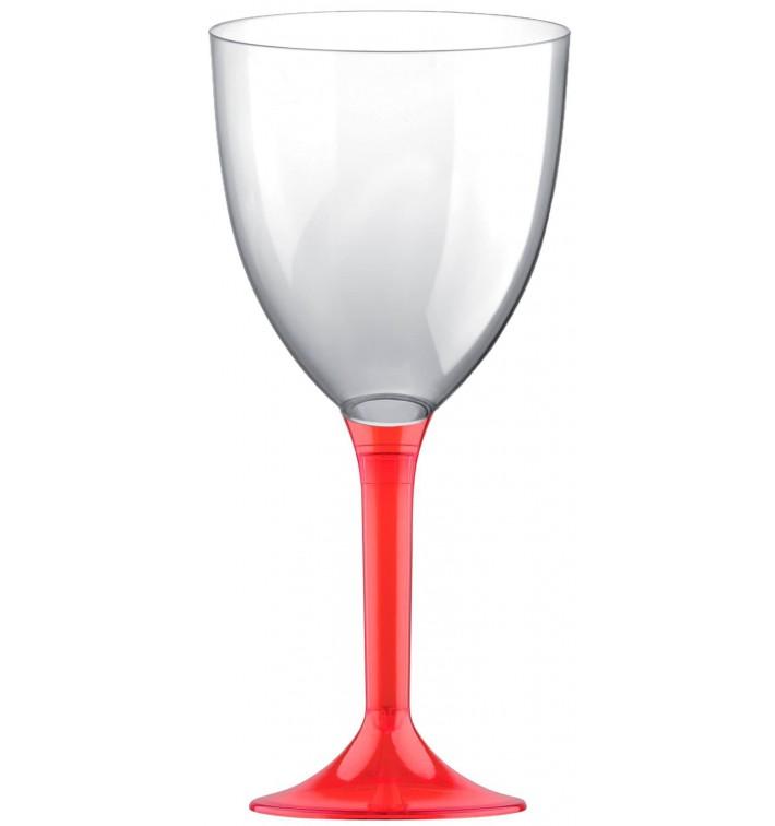 Copa de Plastico Vino con Pie Rojo Transp. 300ml (20 Uds)