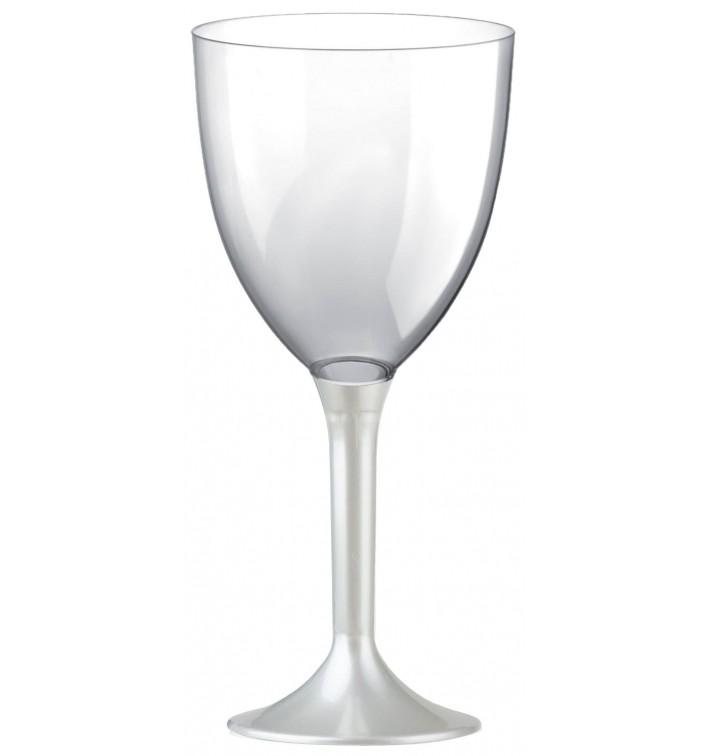 Copa de Plastico Vino con Pie Blanco Perlado 300ml (20 Uds)