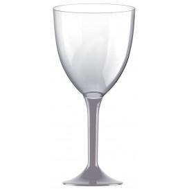 Copa de Plastico Vino con Pie Gris 300ml (20 Uds)