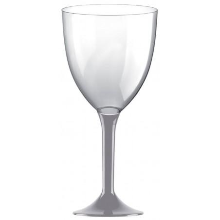 Copa Plastico Vino Pie Gris 300ml 2P (20 Uds)