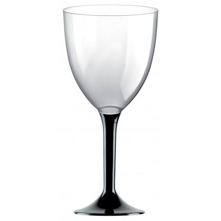 Copa de Plastico Vino con Pie Negro 300ml (20 Uds)