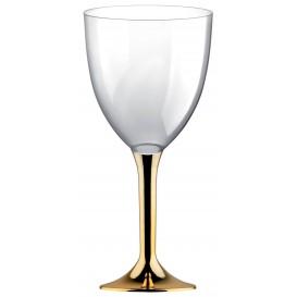 Copa de Plastico Vino con Pie Oro Cromado 300ml (20 Uds)