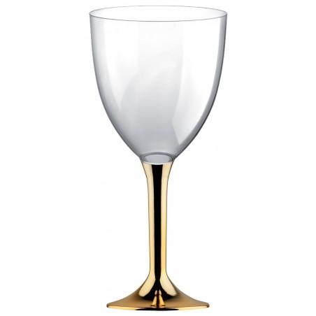 Copa Plastico Vino Pie Oro Cromado 300ml 2P (20 Uds)