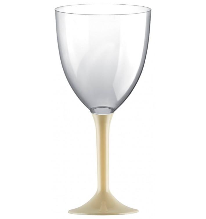 Copa de Plastico Vino con Pie Crema 300ml (200 Uds)