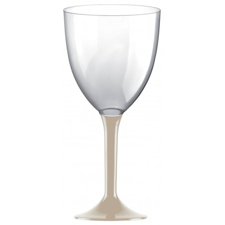 Copa Plastico Vino Pie Beige 300ml 2P (20 Uds)
