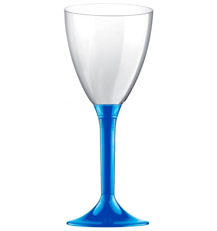 Copa de Plastico Vino con Pie Azul Mediterraneo 300ml (20 Uds)
