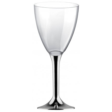 Copa de Plastico Vino con Pie Plata Cromado 180ml (200 Uds)