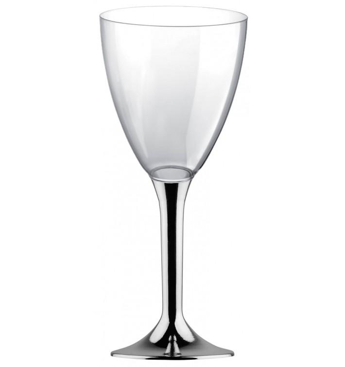 Copa de Plastico Vino con Pie Plata Cromado 300ml (20 Uds)