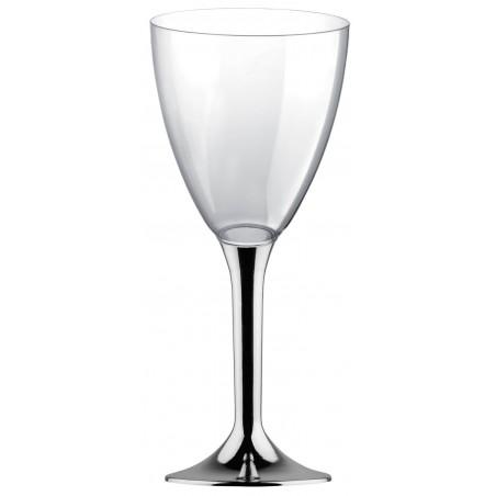 Copa Plastico Vino Pie Plata Cromado 300ml 2P (20 Uds)